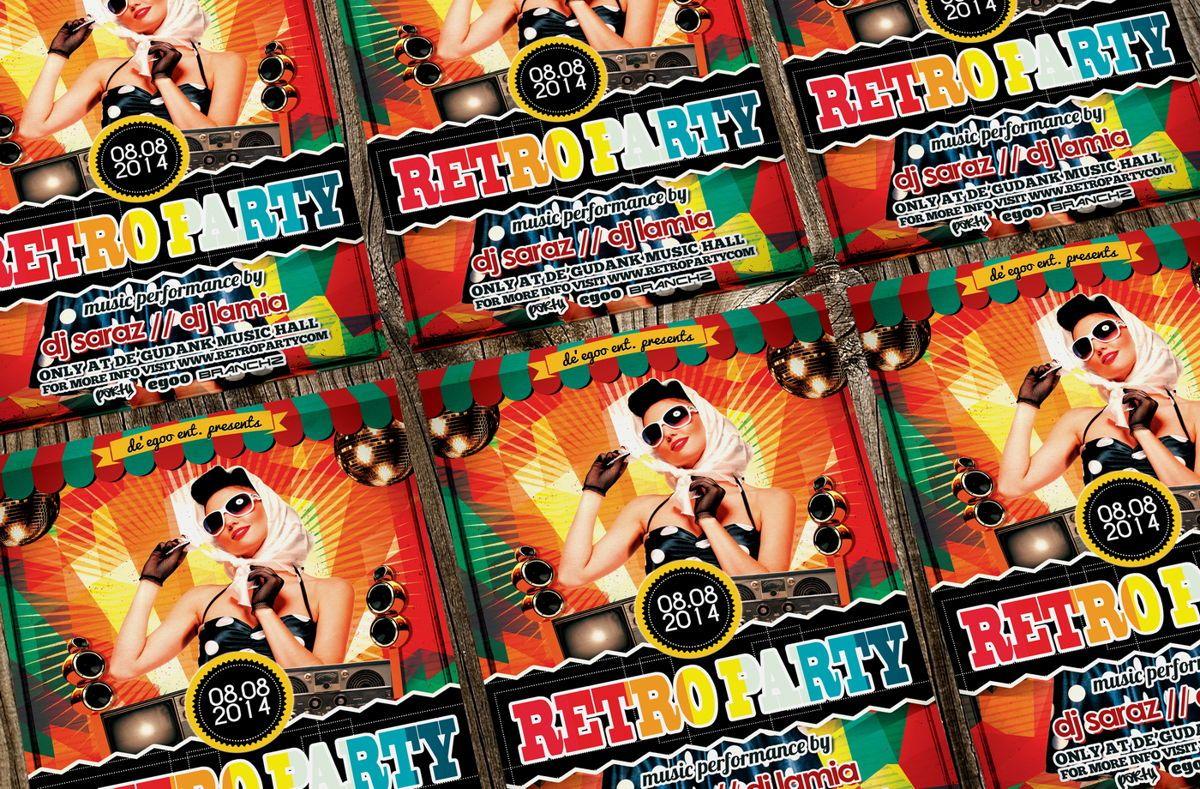 Retro Party Flyer Template, Slide 2, 08692, Art & Entertainment — PoweredTemplate.com