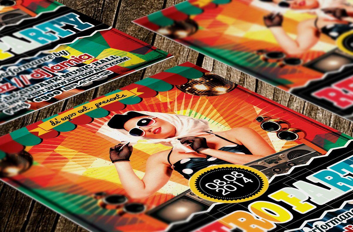 Retro Party Flyer Template, Slide 3, 08692, Art & Entertainment — PoweredTemplate.com