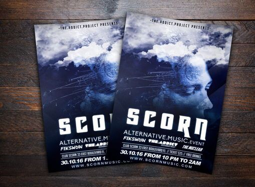 Art & Entertainment: Scorn Alternative Music Flyer Template #08693