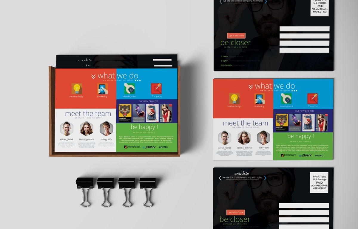 Creative Corporate Service PostCard, 08697, Art & Entertainment — PoweredTemplate.com