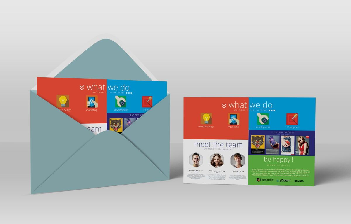 Creative Corporate Service PostCard, Slide 4, 08697, Art & Entertainment — PoweredTemplate.com
