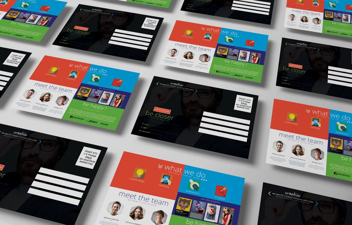 Creative Corporate Service PostCard, Slide 5, 08697, Art & Entertainment — PoweredTemplate.com