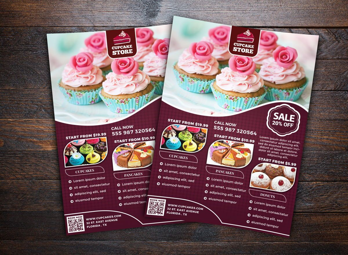Cupcake Store Flyer Template, 08698, Food & Beverage — PoweredTemplate.com