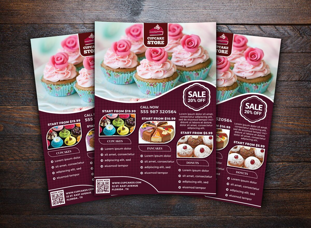 Cupcake Store Flyer Template, Slide 2, 08698, Food & Beverage — PoweredTemplate.com