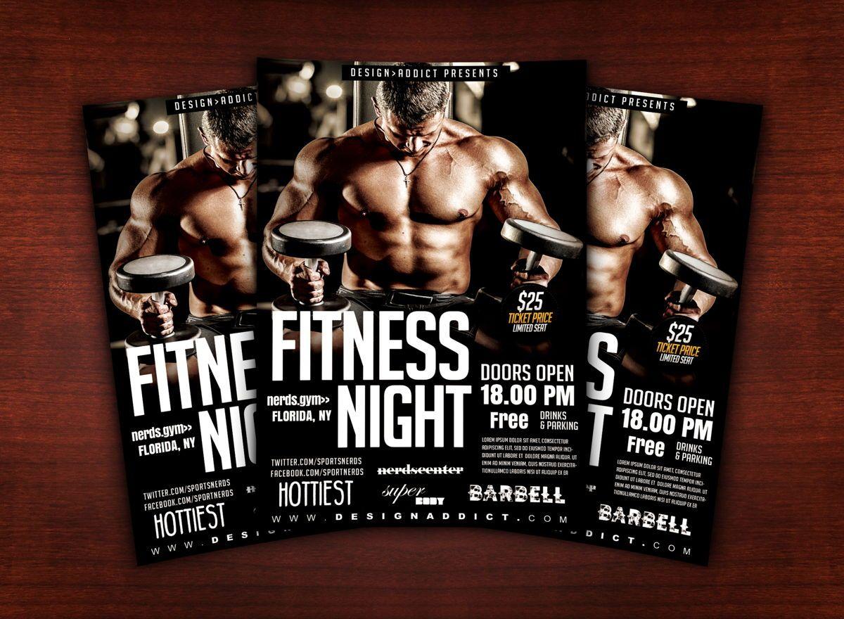 Fitness Night Sports Flyer, Slide 2, 08701, Sports — PoweredTemplate.com