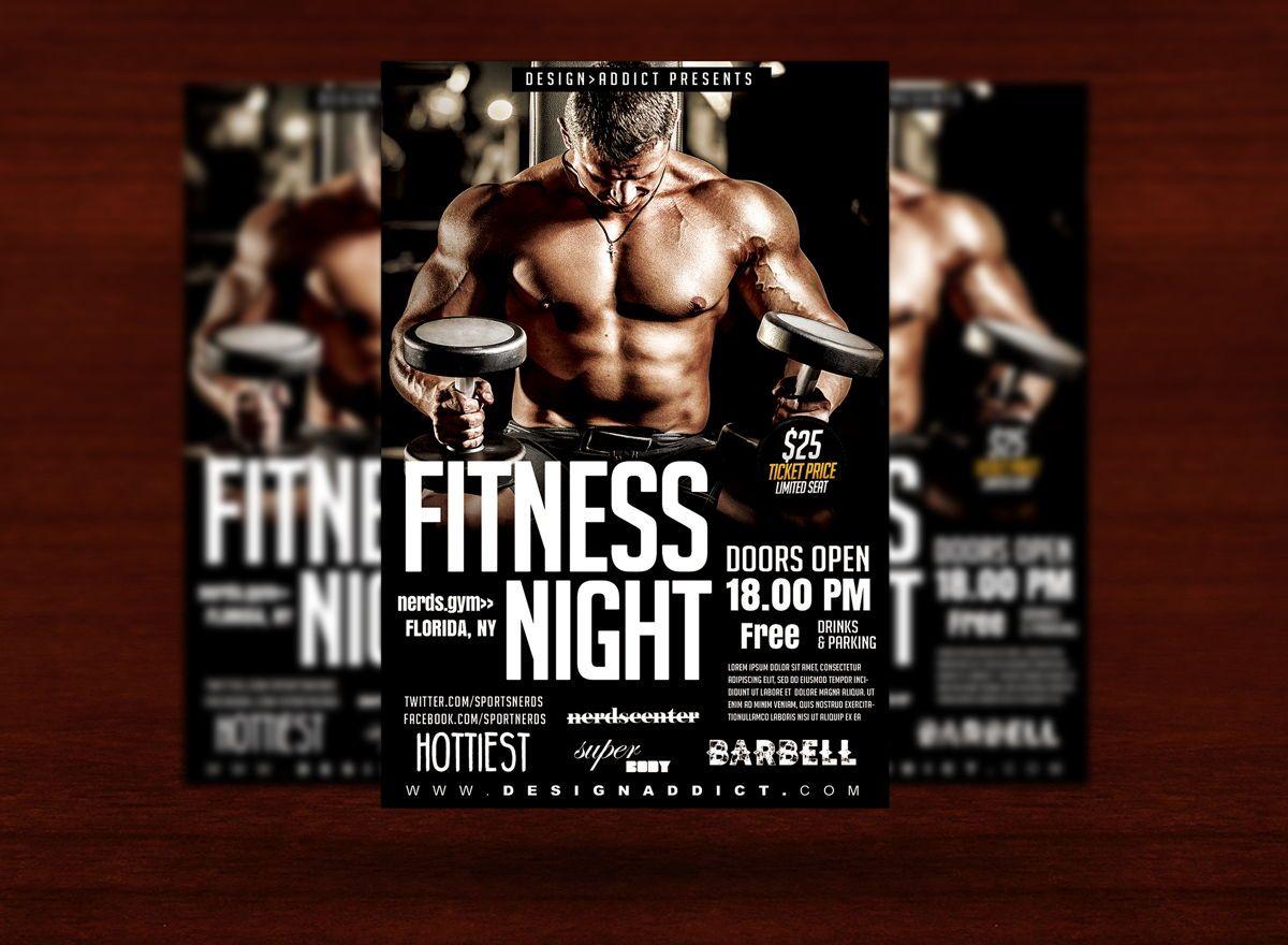 Fitness Night Sports Flyer, Slide 3, 08701, Sports — PoweredTemplate.com