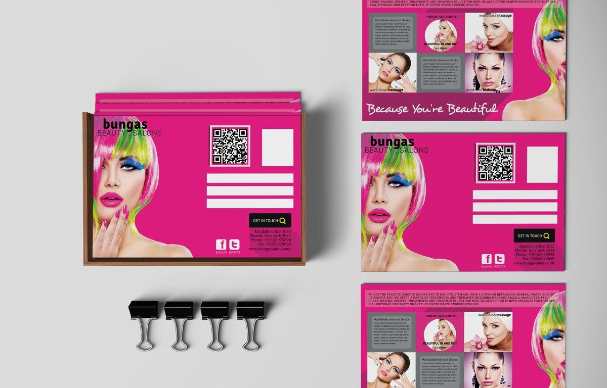 Flat Style Beauty Salons PostCard, 08703, Business — PoweredTemplate.com