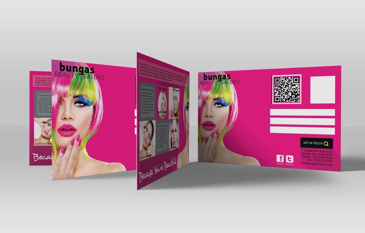 Flat Style Beauty Salons PostCard, Slide 2, 08703, Business — PoweredTemplate.com