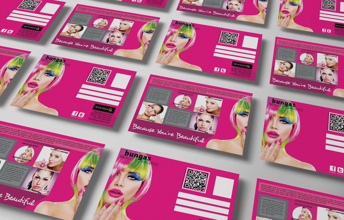 Flat Style Beauty Salons PostCard, Slide 3, 08703, Business — PoweredTemplate.com
