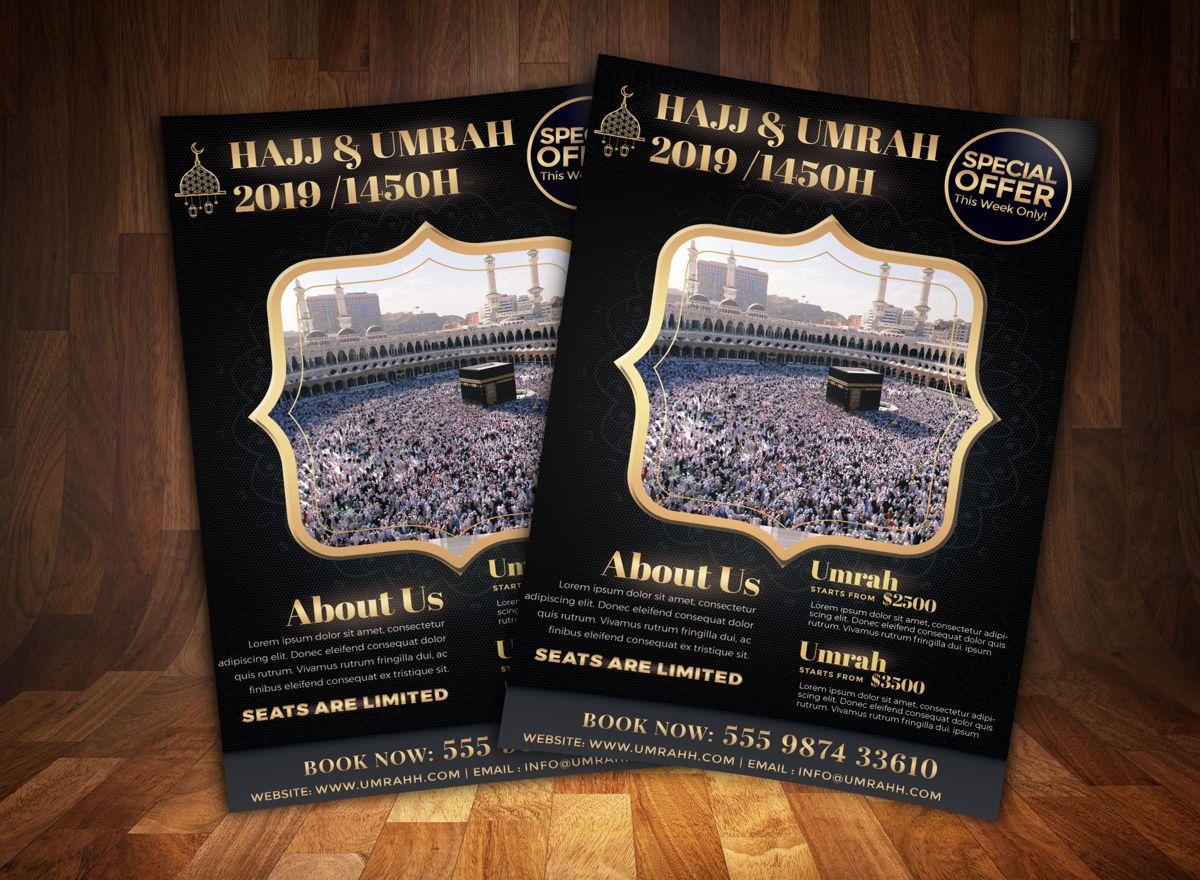 Hajj and Umrah Flyer Template, 08707, Religious/Spiritual — PoweredTemplate.com