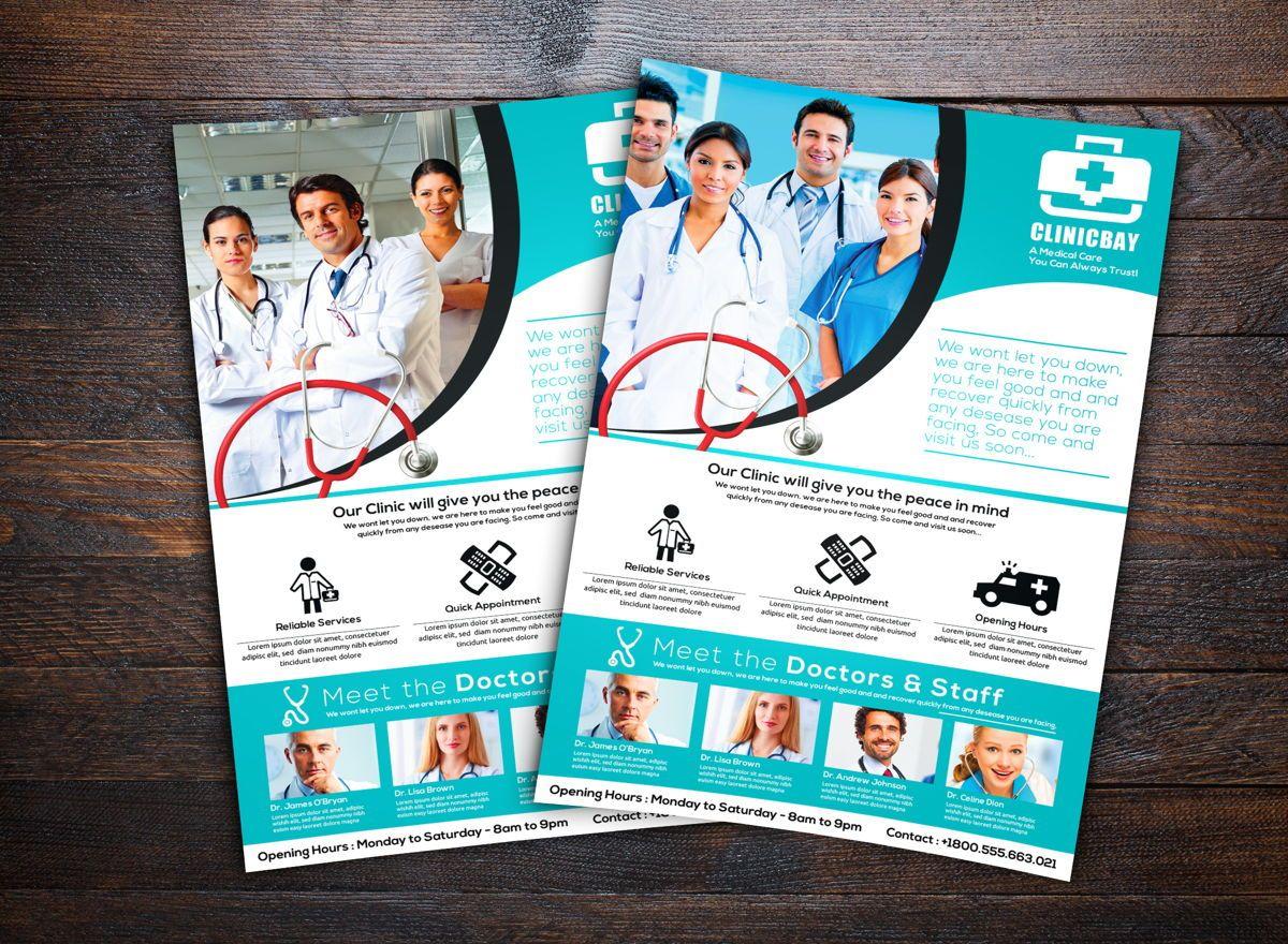 Health Clinic Flyer Template, 08708, Medical — PoweredTemplate.com