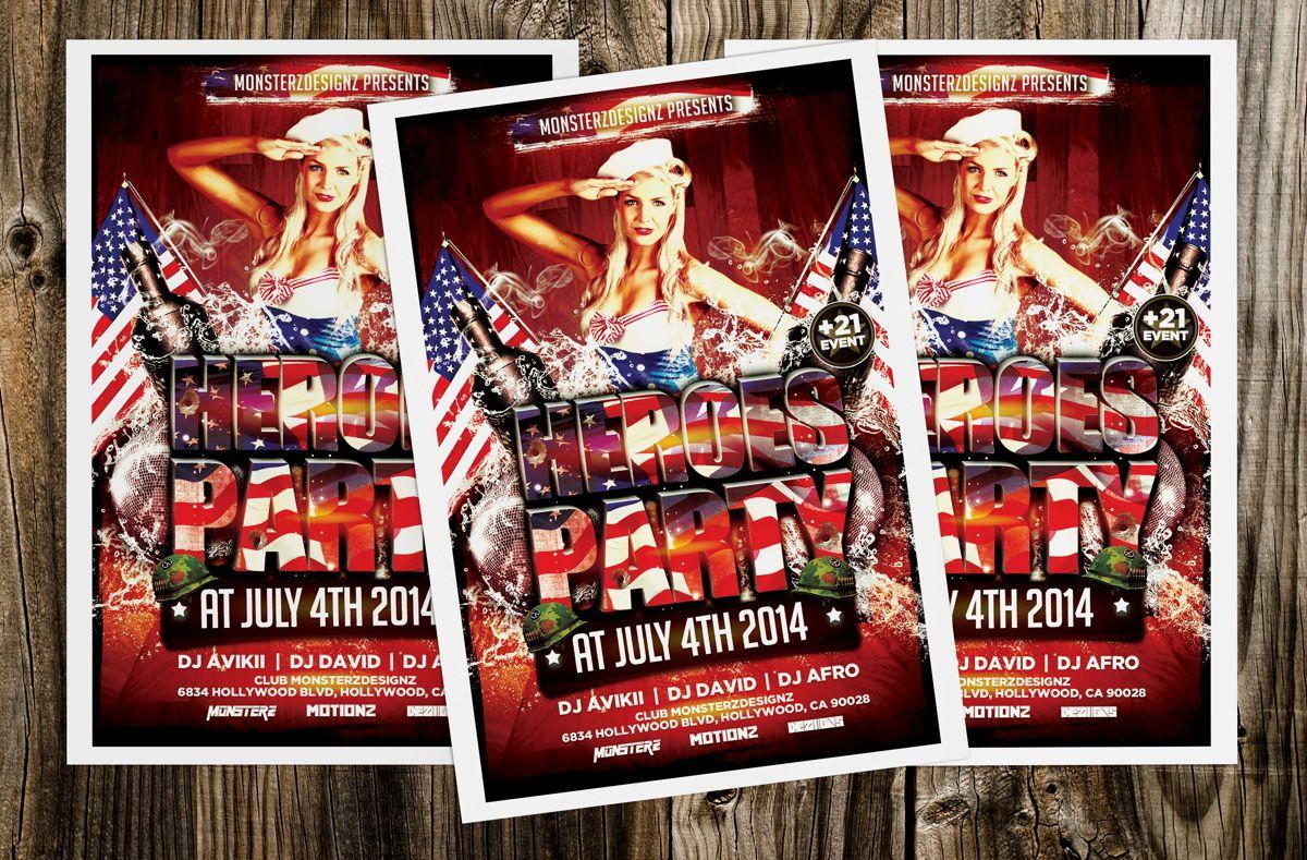 Heroes Party Flyer Template, 08709, Art & Entertainment — PoweredTemplate.com