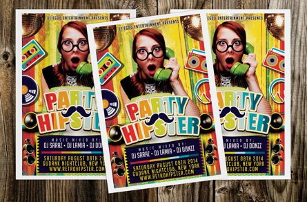 Art & Entertainment: Hipster Party Flyer Template #08710