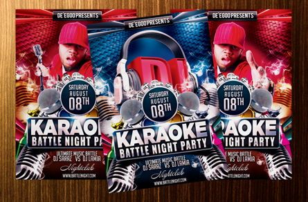 Art & Entertainment: Karaoke Battle Night Party Flyer Template #08712
