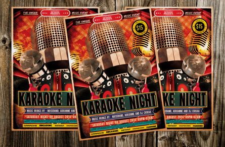 Art & Entertainment: Karaoke Night Music Flyer Template #08713