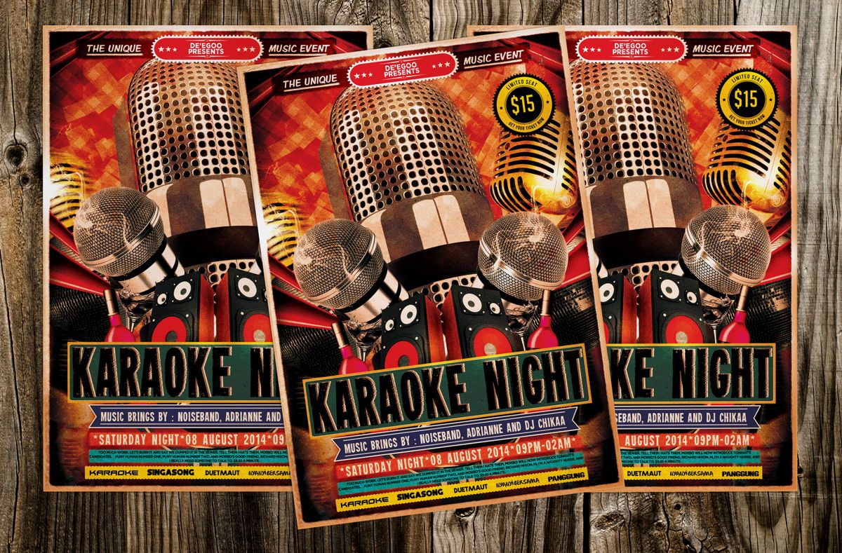 Karaoke Night Music Flyer Template, 08713, Art & Entertainment — PoweredTemplate.com