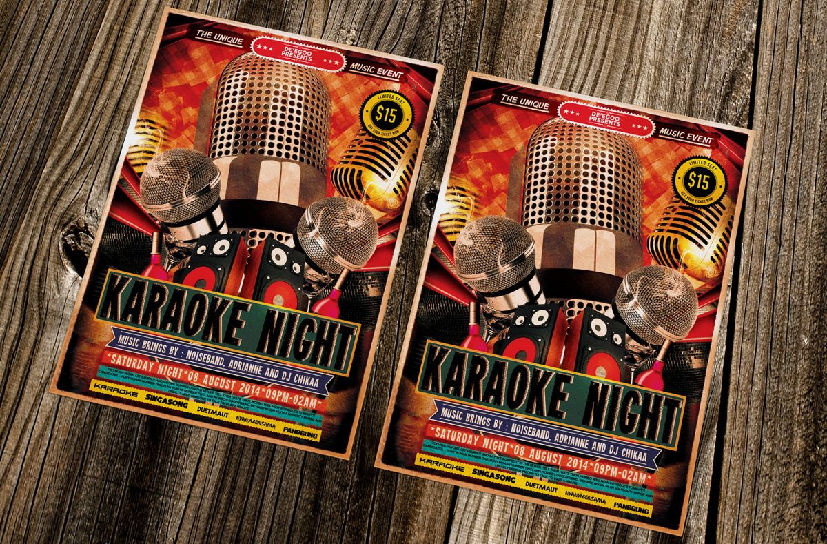 Karaoke Night Music Flyer Template, Slide 2, 08713, Art & Entertainment — PoweredTemplate.com