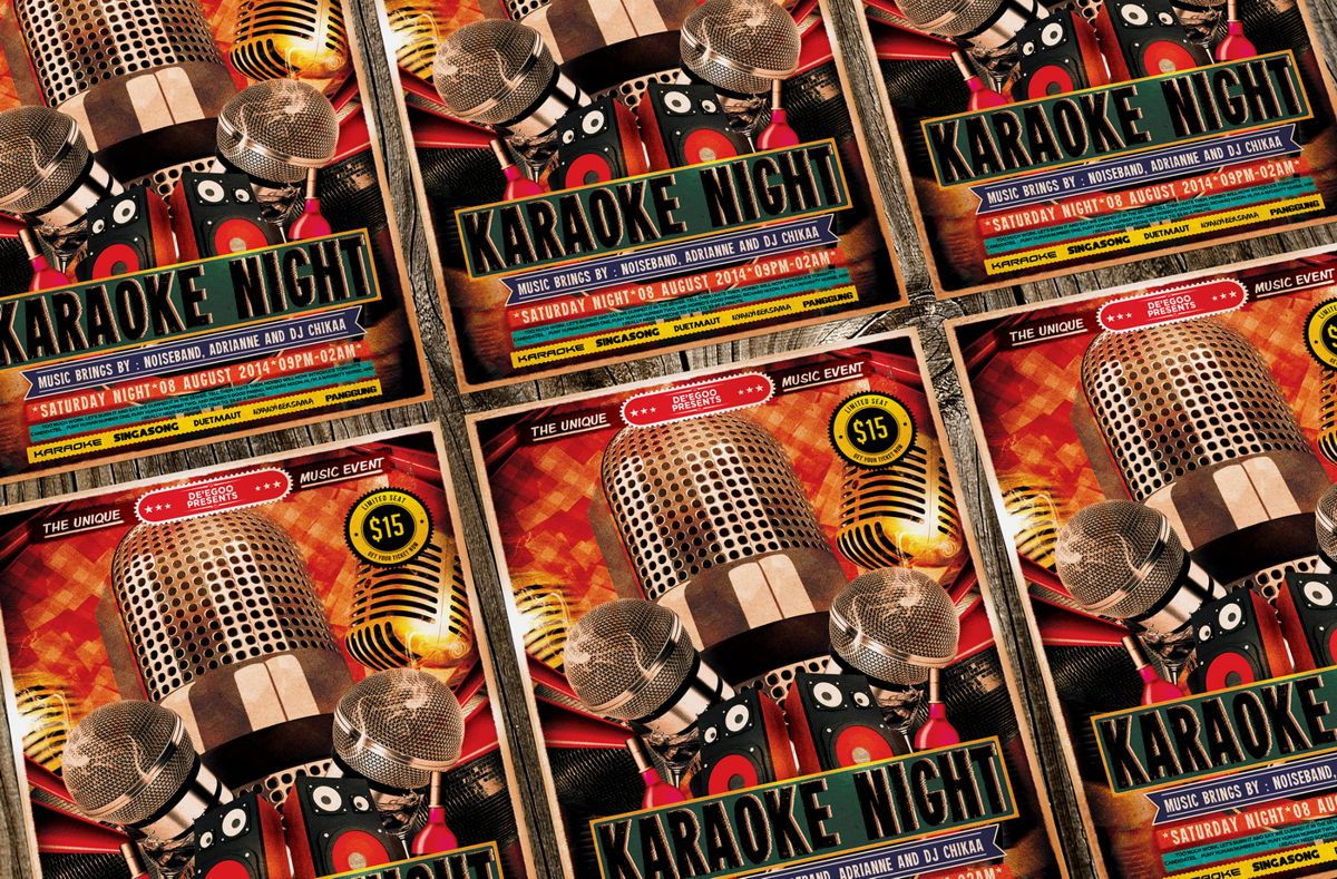 Karaoke Night Music Flyer Template, Slide 3, 08713, Art & Entertainment — PoweredTemplate.com