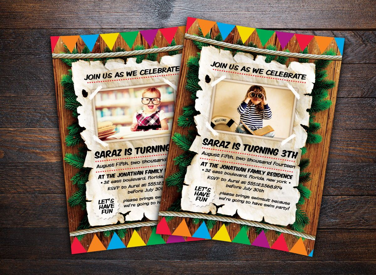 Kids Birthday Invitation Flyer Template, 08714, Holiday/Special Occasion — PoweredTemplate.com