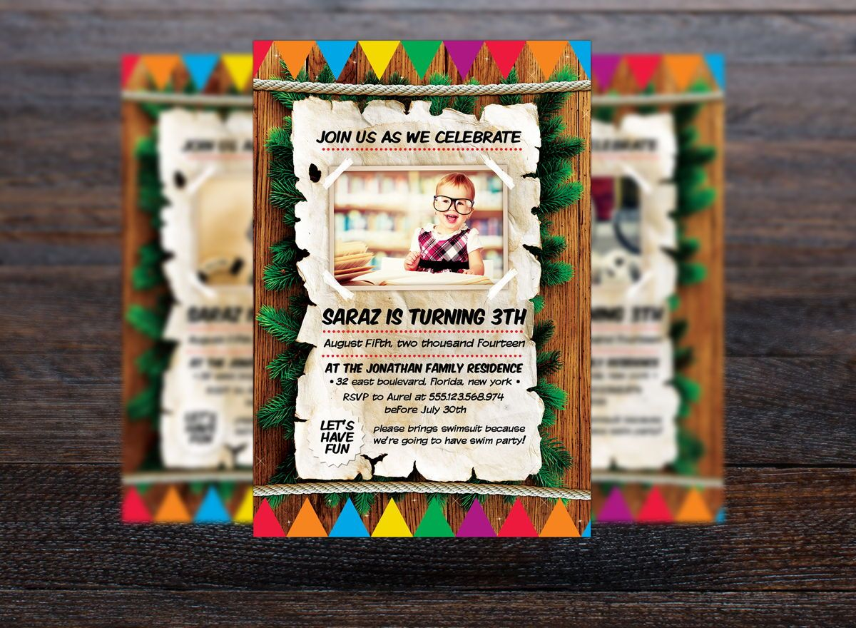 Kids Birthday Invitation Flyer Template, Slide 3, 08714, Holiday/Special Occasion — PoweredTemplate.com