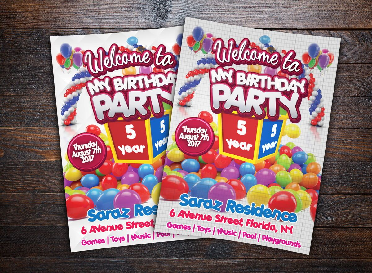 Kids Birthday Party Event Card, 08715, Holiday/Special Occasion — PoweredTemplate.com
