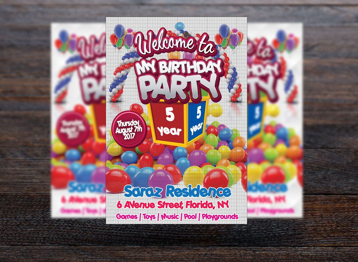 Kids Birthday Party Event Card, Slide 3, 08715, Holiday/Special Occasion — PoweredTemplate.com