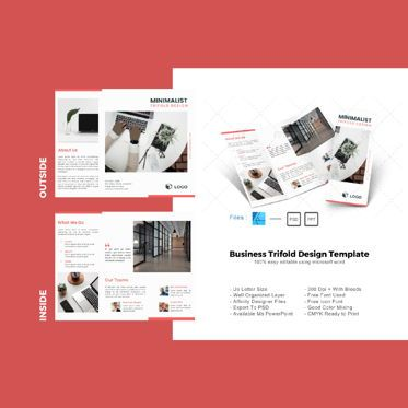 Business: Multipurpose minimal pro trifold brochure design template #08716