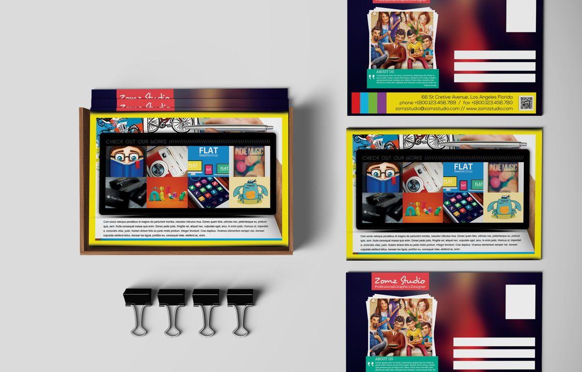 Graphics Design Studio PostCard, 08718, Business — PoweredTemplate.com