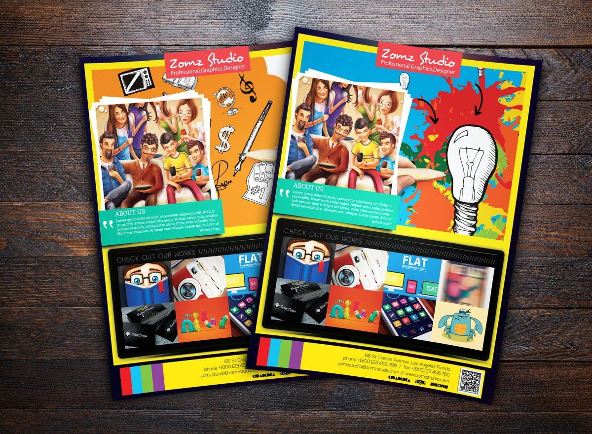 Graphics Design Studio Promotion Flyer Template, 08719, Business — PoweredTemplate.com