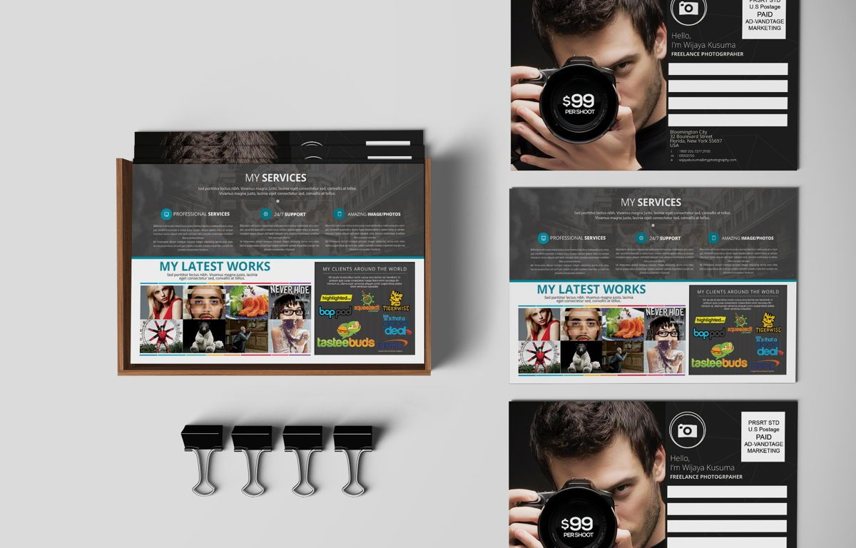 Freelance Photographer Promotion PostCard, 08720, Business — PoweredTemplate.com