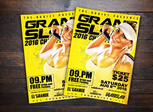 Sports: Grand Slam Tennis Sports Flyer Template #08721