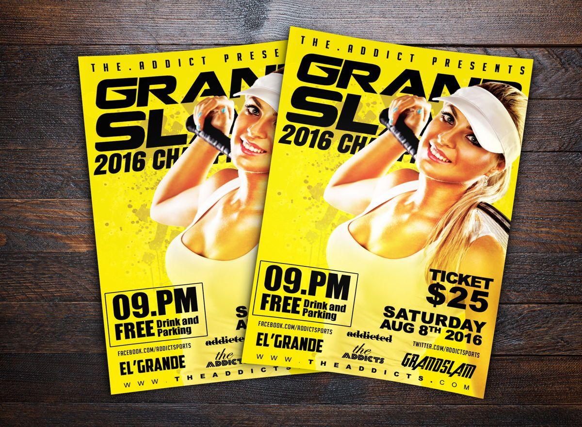 Grand Slam Tennis Sports Flyer Template, 08721, Sports — PoweredTemplate.com