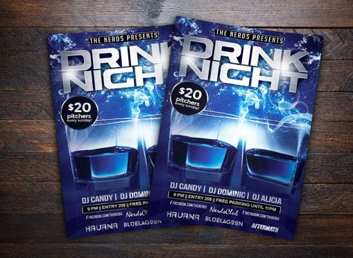 Art & Entertainment: Drink Night Party Flyer Template #08724