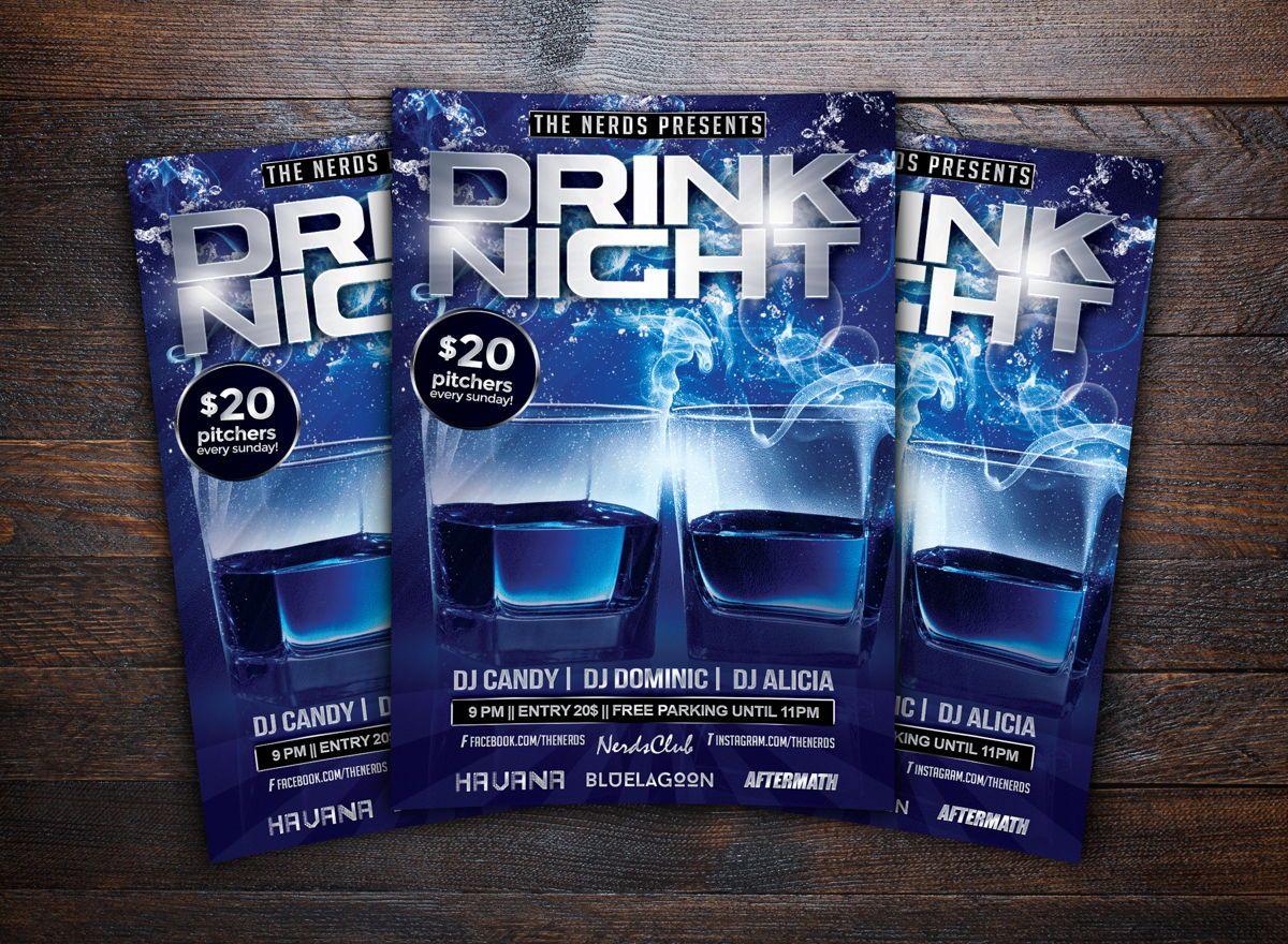 Drink Night Party Flyer Template, Slide 2, 08724, Art & Entertainment — PoweredTemplate.com