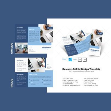Business: Multipurpose company trifold brochure design template #08732