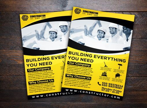 Construction: Construction Company Flyer Template #08740