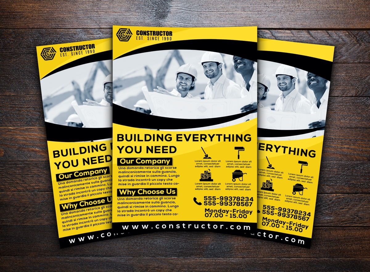 Construction Company Flyer Template, Slide 2, 08740, Construction — PoweredTemplate.com