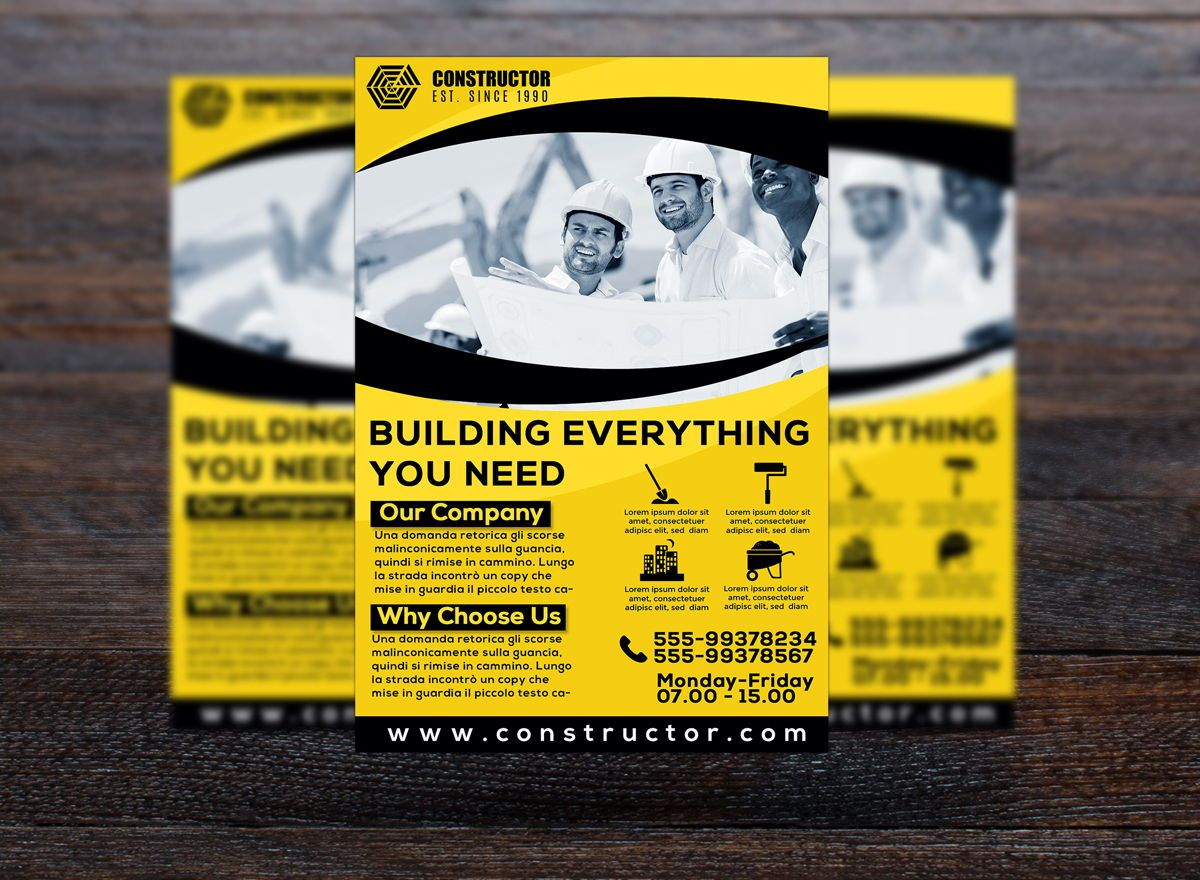 Construction Company Flyer Template, Slide 3, 08740, Construction — PoweredTemplate.com