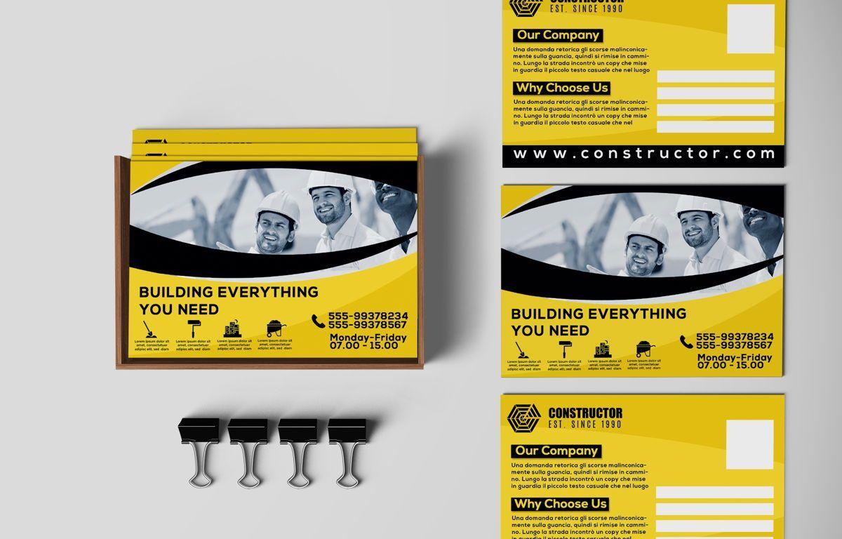 Construction Company PostCard, 08741, Construction — PoweredTemplate.com