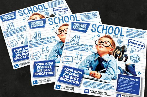 Business: Online School Admission Flyer Template #08753