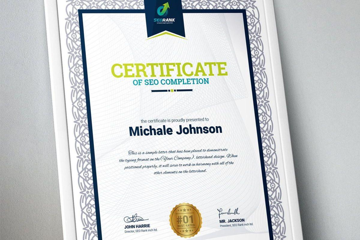 Certificate of SEO Completion Multipurpose Certificate Template Business Award Certificate, 08754, Business — PoweredTemplate.com