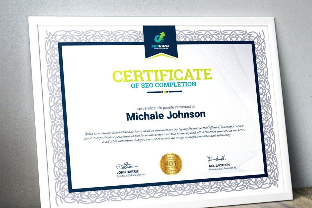 Certificate of SEO Completion Multipurpose Certificate Template Business Award Certificate, Slide 3, 08754, Business — PoweredTemplate.com
