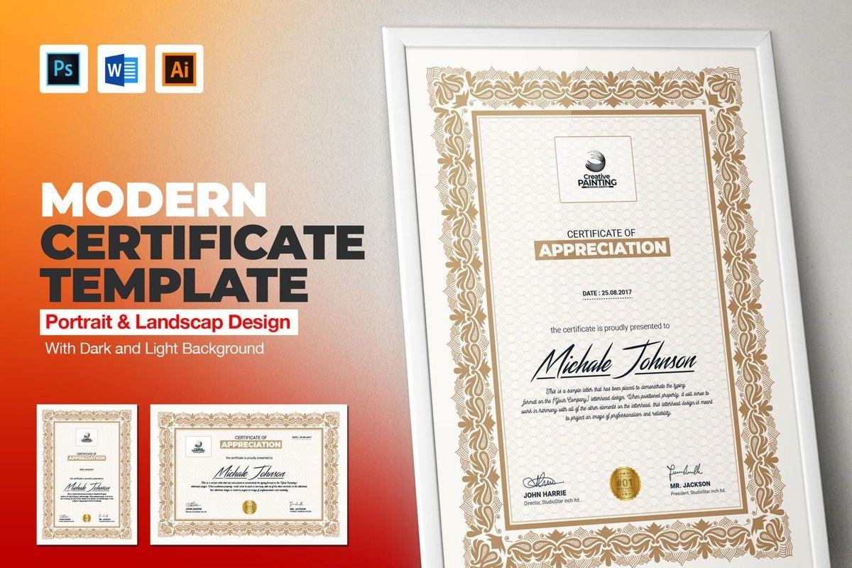 Creative Painting Certificate - 8 Colors - Dark and Light Version, 08755, Business — PoweredTemplate.com