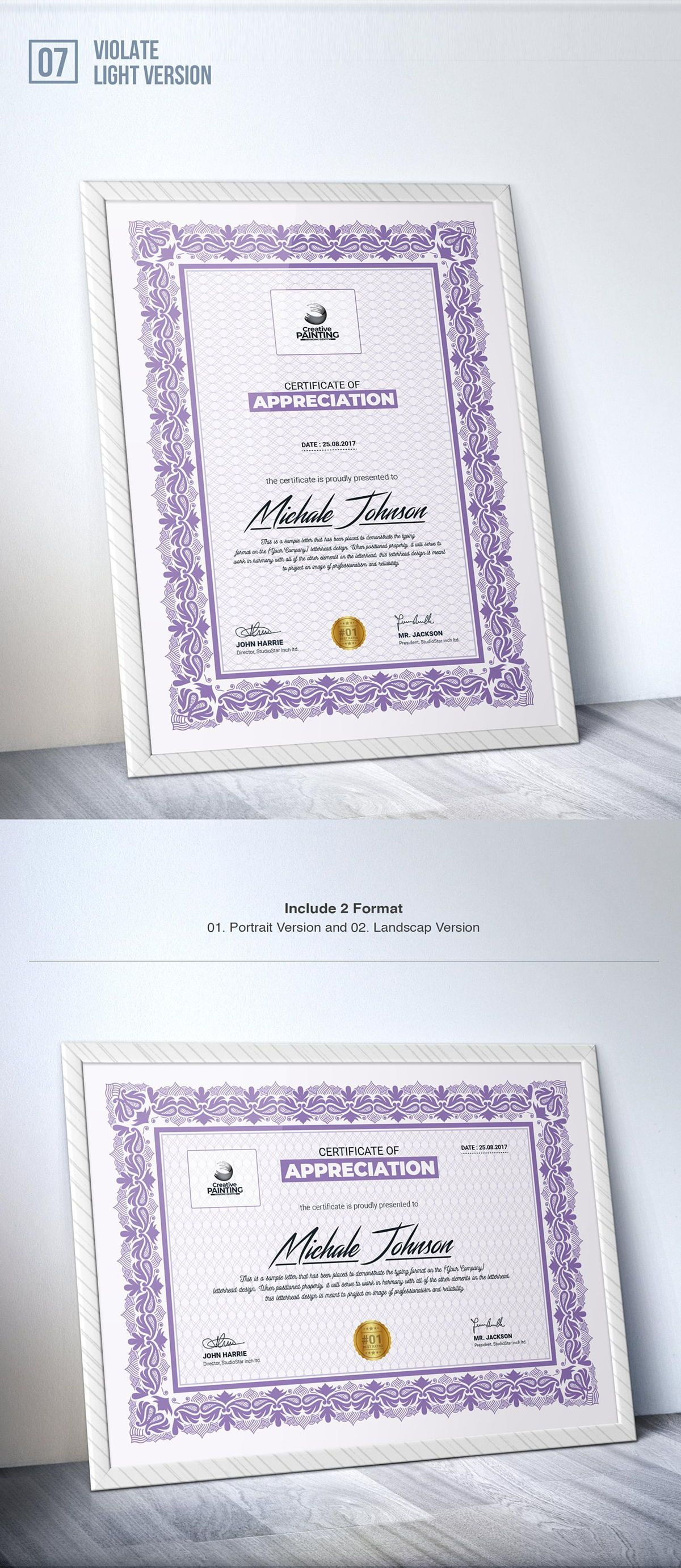 Creative Painting Certificate - 8 Colors - Dark and Light Version, Slide 9, 08755, Business — PoweredTemplate.com