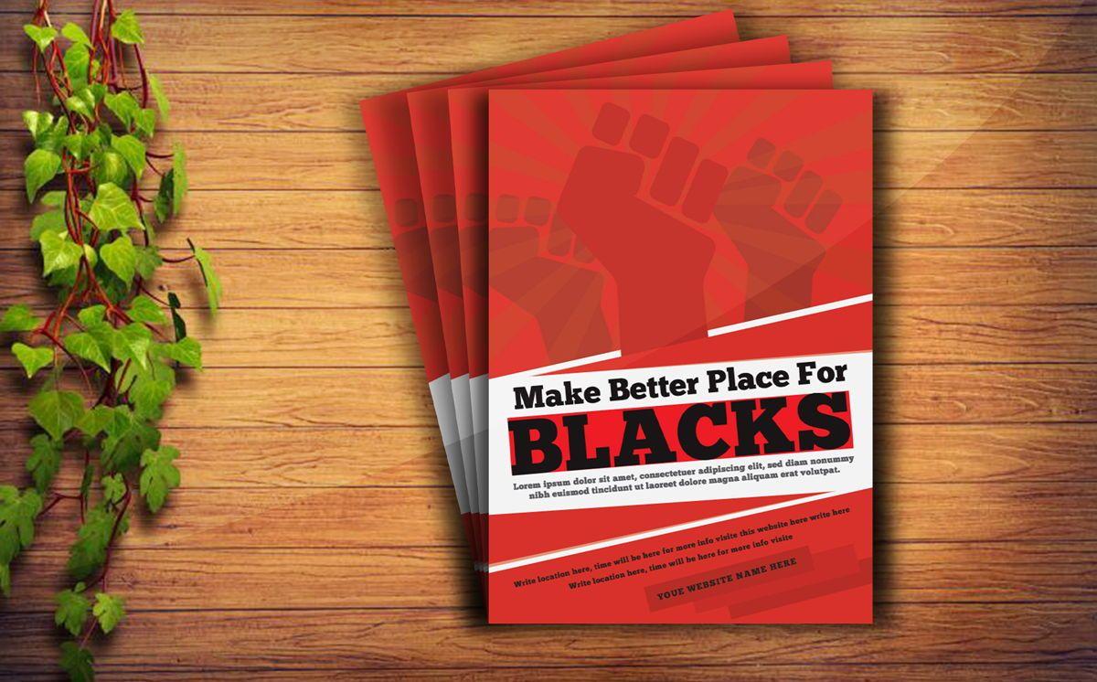 Black Racism Revolution protest Fist Creative poster Template, 08758, Flags/International — PoweredTemplate.com