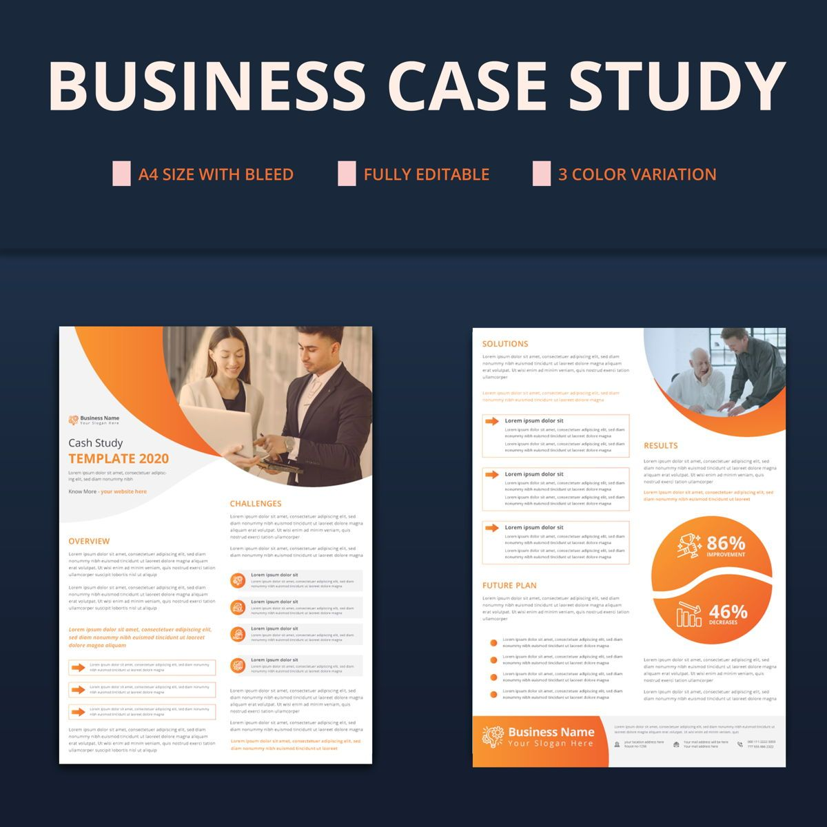 Creative Corporate Business Case Study Template, 08763, Business — PoweredTemplate.com