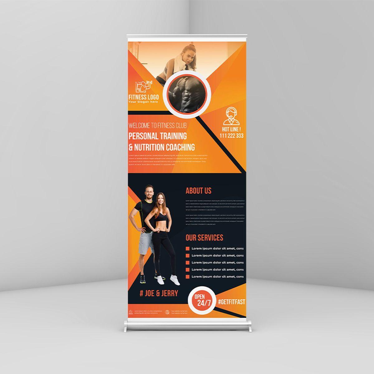 Fitness GYM Roll-Up Banner Template, 08767, Art & Entertainment — PoweredTemplate.com