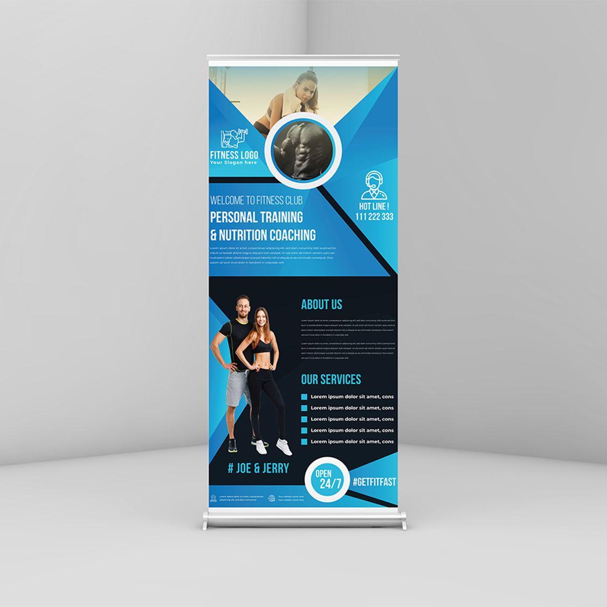 Fitness GYM Roll-Up Banner Template, Slide 2, 08767, Art & Entertainment — PoweredTemplate.com