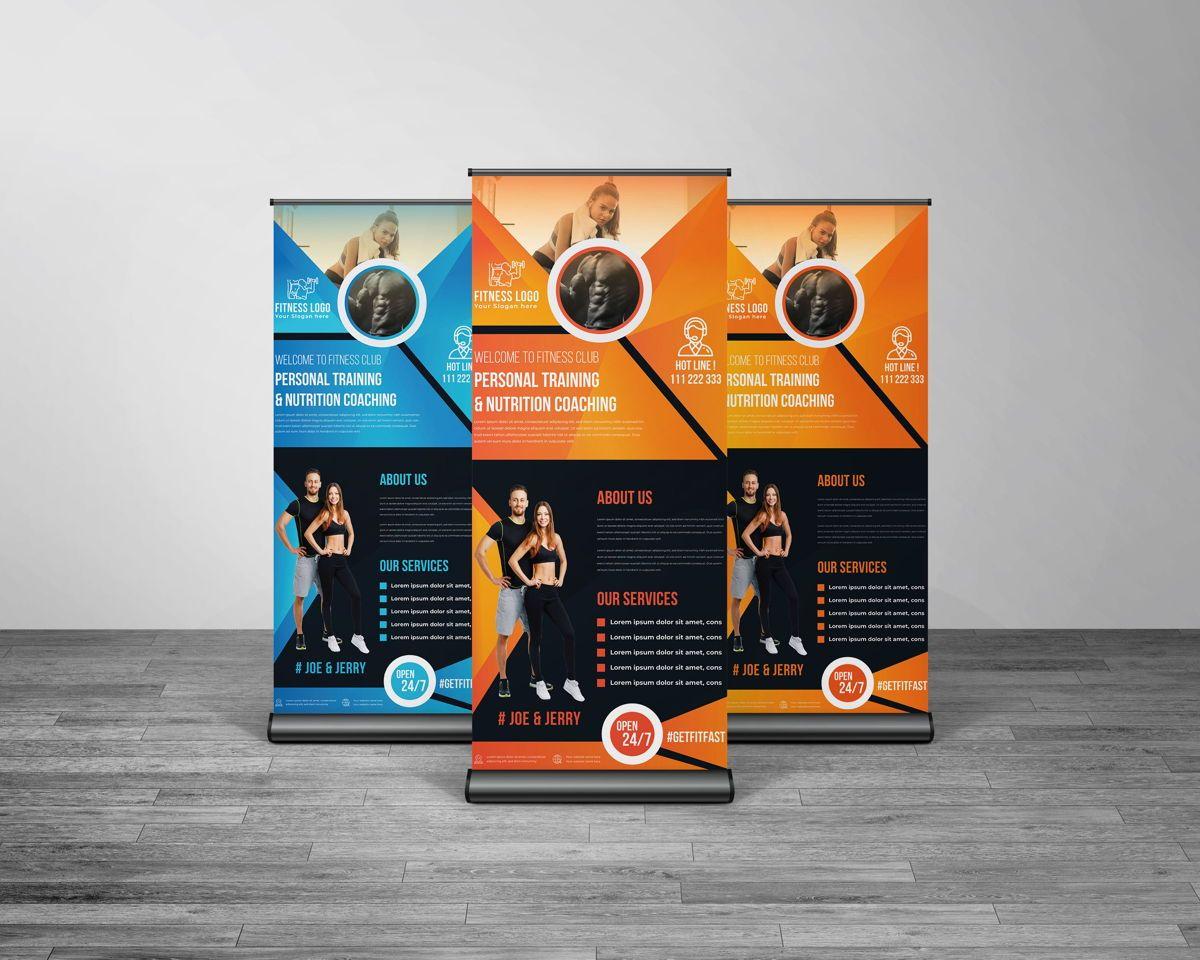 Fitness GYM Roll-Up Banner Template, Slide 5, 08767, Art & Entertainment — PoweredTemplate.com