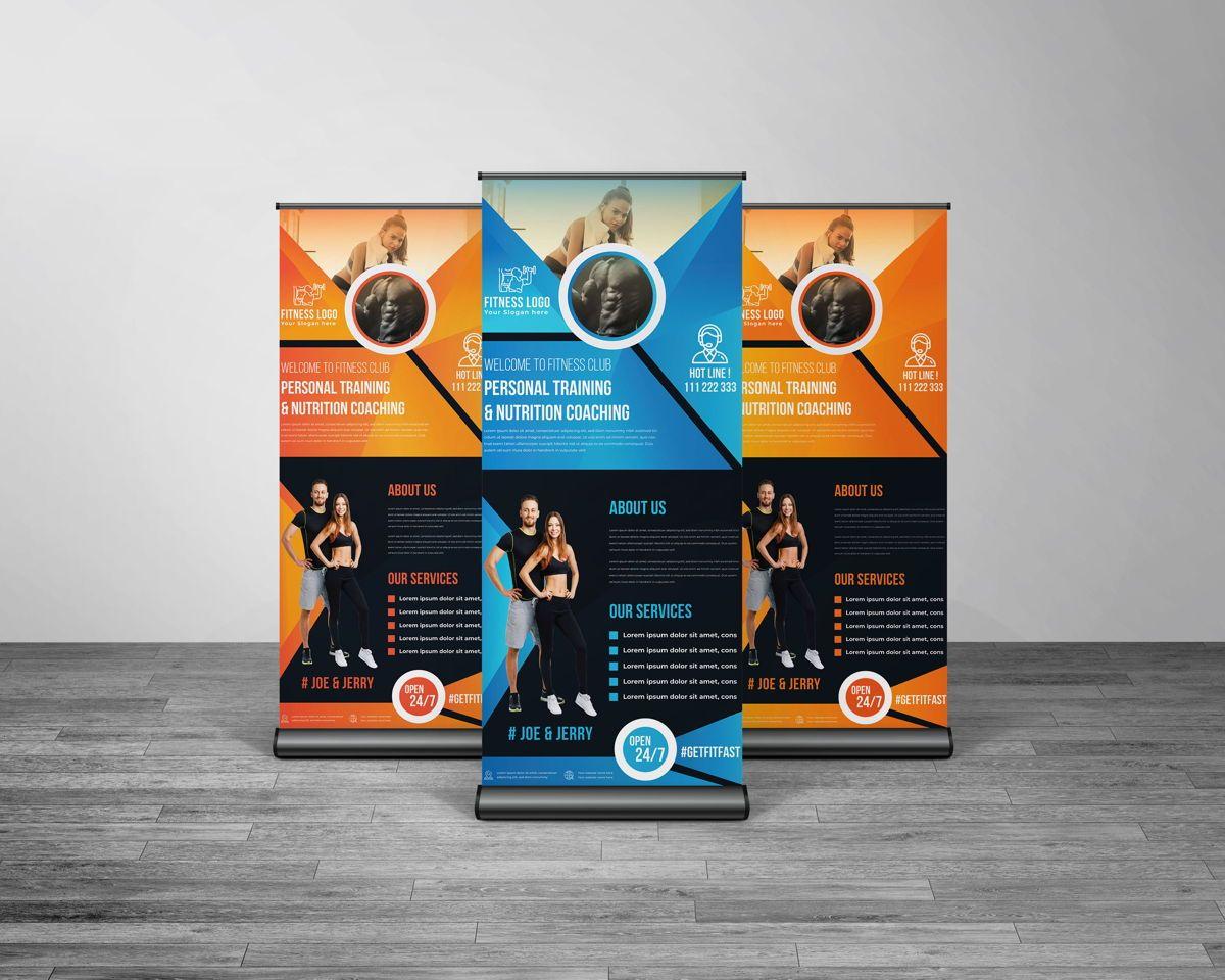 Fitness GYM Roll-Up Banner Template, Slide 6, 08767, Art & Entertainment — PoweredTemplate.com